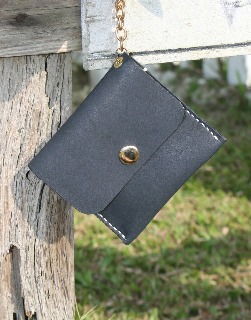 Handmade leather - square coin purse / key case - black