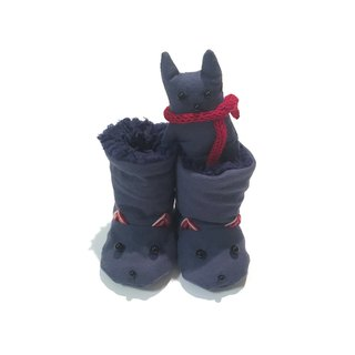 Booties of the babygift cat     Navy-blue