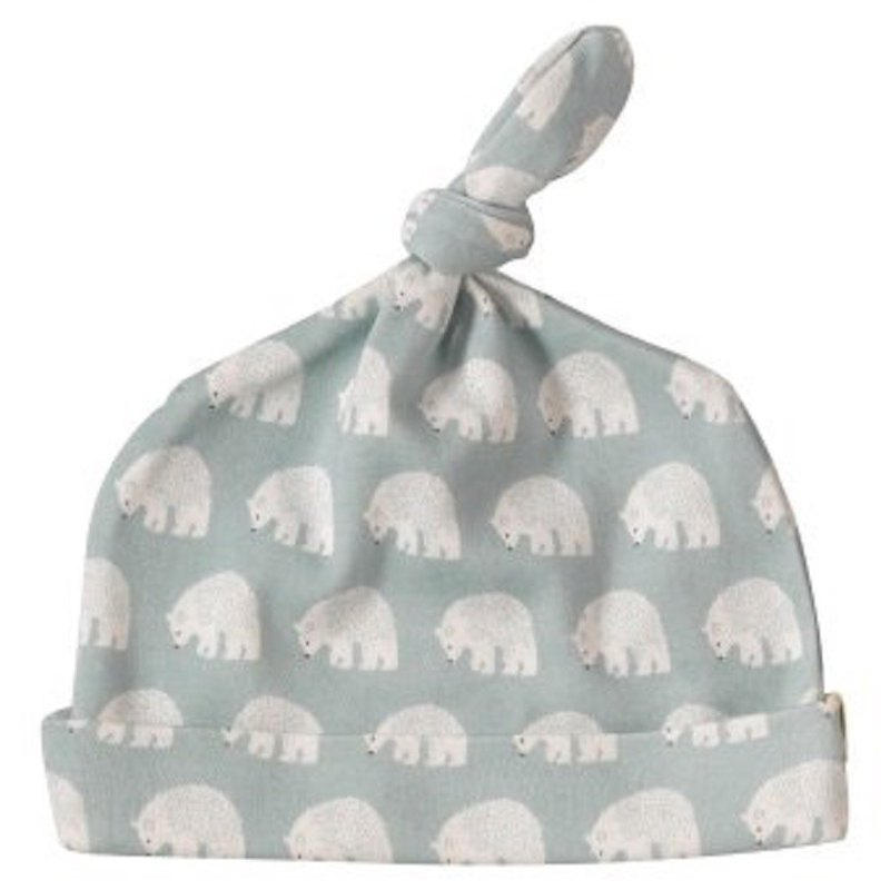 100% organic cotton blue polar bear baby skull cap