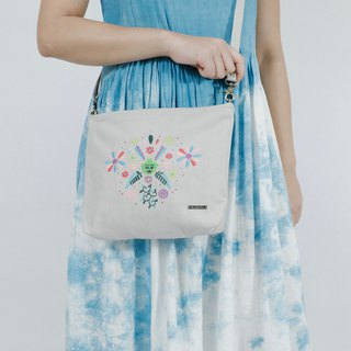 Cotton Canvas Denim Embroidery Across-Body Bag - My Dream Flower Sea
