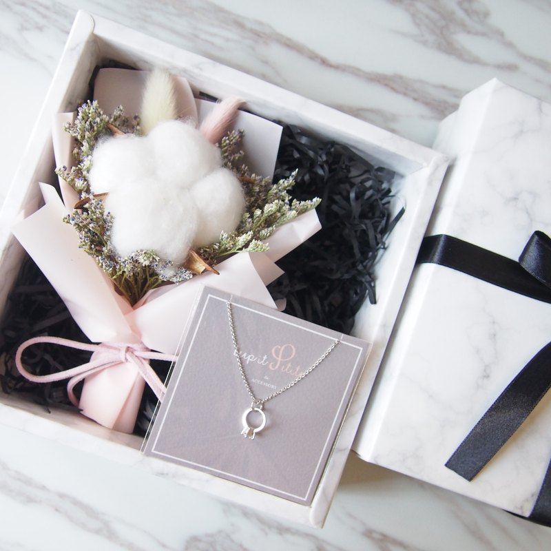 [Cloudy Gift Box Warm Bouquet] Mini Dry Bouquet (Pink) + Mini Ring Necklace