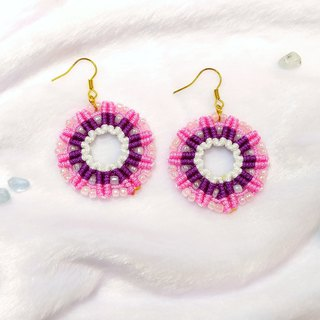 E003-Hand-woven glass rice beads round hollow earrings pink small wreath