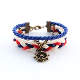 Ship wheel nautical layered bracelet in admiral blue / cream / red / navy blue