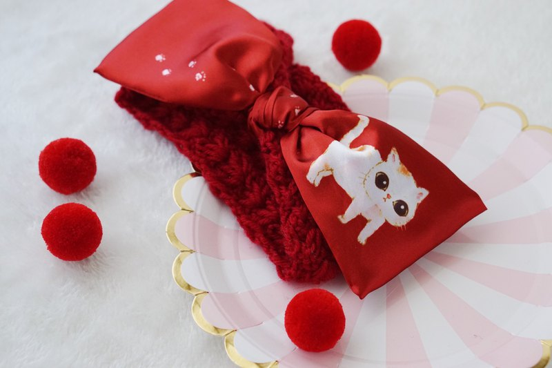Original handmade red cat bow hair band