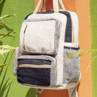 Cotton and linen stitching design backpack / shoulder bag / ethnic mountaineering bag / computer backpack - hit color fashion black