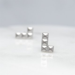 Tetris L-earring earrings (pair) = changeable ear clip =