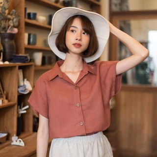 Linen Shirt with Wooden buttons (Short-sleeved)-Red brick