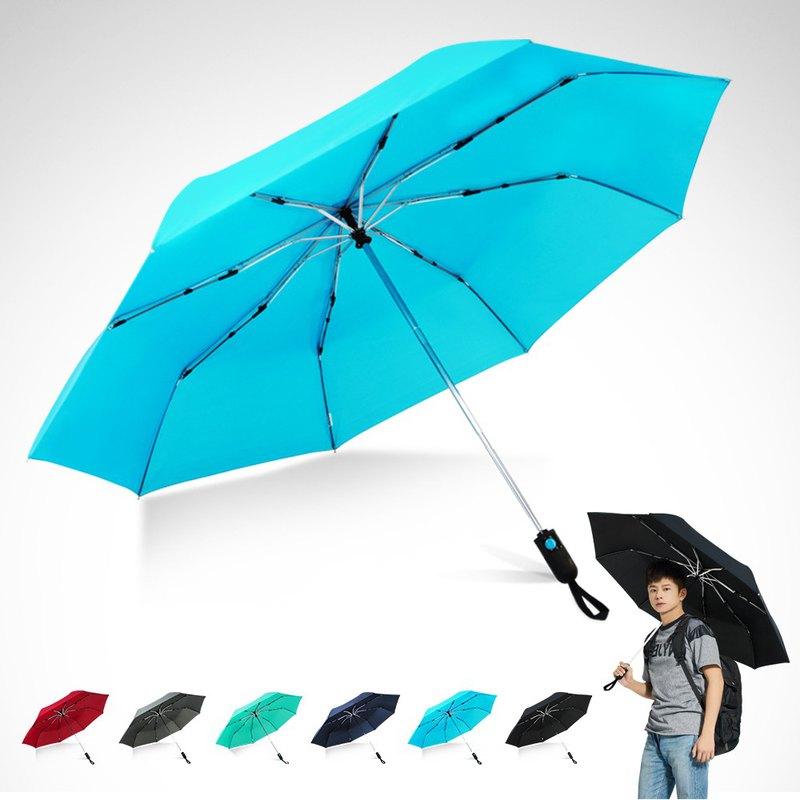 TDN省力回壓極簡超撥水自動開收傘超大防風雨傘(水藍)