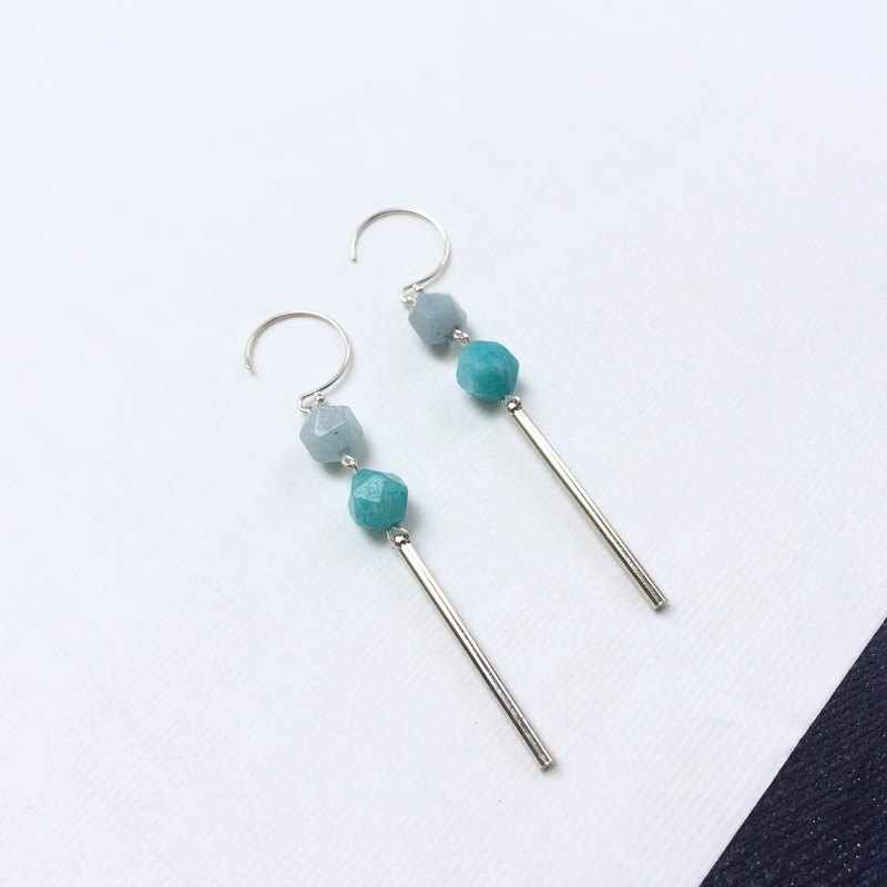 Natural crystal multicolored earrings polygonal faceted crystal 925 silver ear hook models