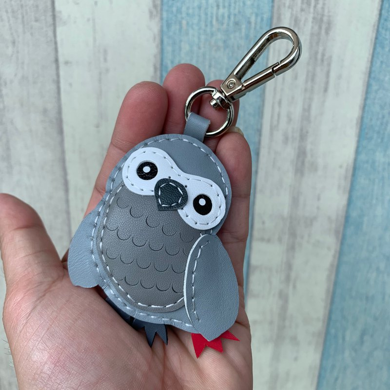Light gray cute African parrot handmade sewn leather keychain small size