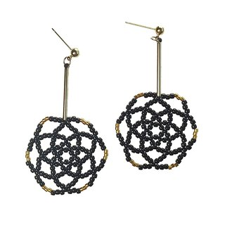 Black - Daisy Flower Drop Earrings
