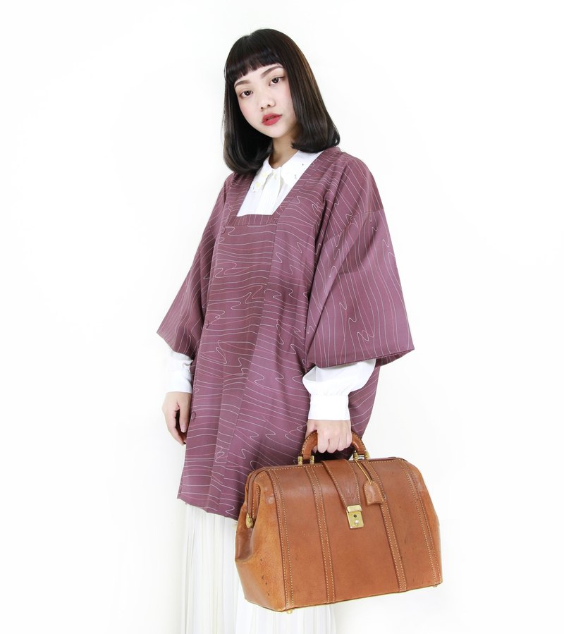 Back to Green :: Japan back to the fog Amethyst vintage kimono (KBI-65)