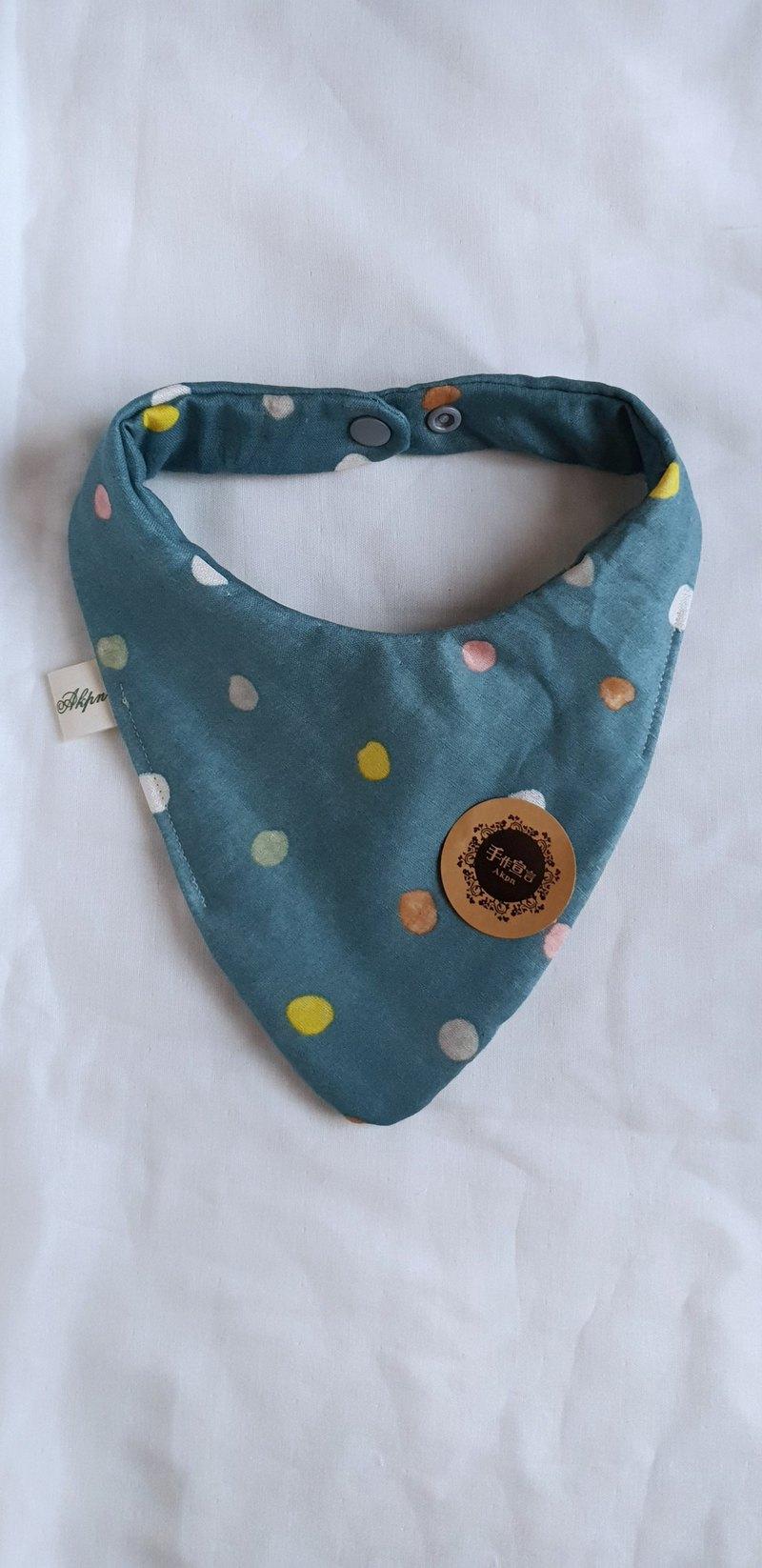 彩水玉點點-礦藍色-八層紗純棉角型口水巾圍兜