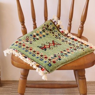 Yellow green hand woven carpet cushion size wool plant dyeing Turkish kilim