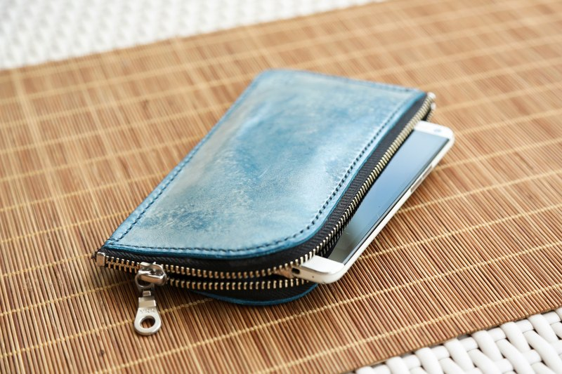Hand Stitched Leather zip pouch, Brushed Wax Leather Wallet