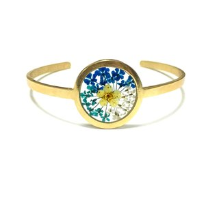 Pressed Flower Golden Stainless Steel Bangle