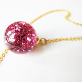 * Rosy Garden * Sweet pink glitter with water inside snow flakes glass ball pendant necklace