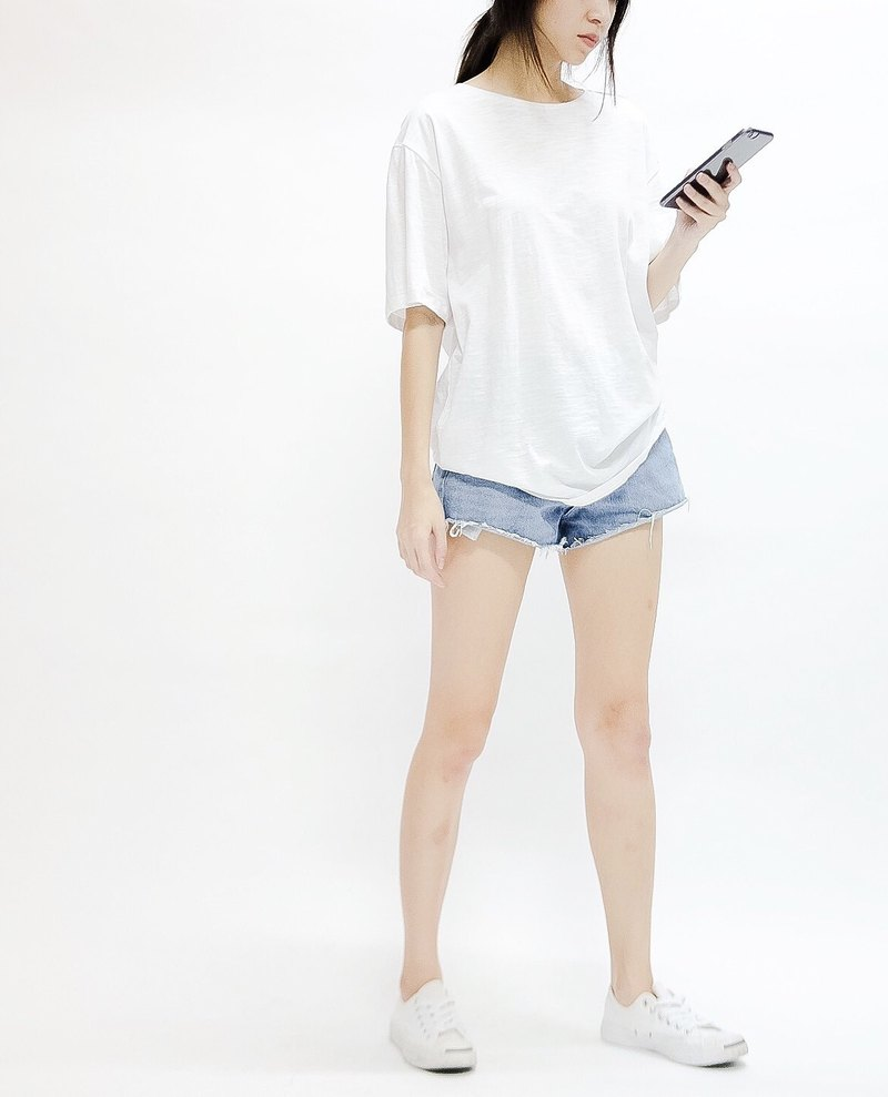 Boyfriend tee round neck - white
