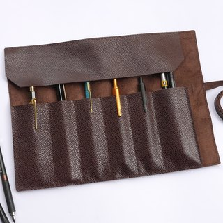Brown leather pen roll [free brand]
