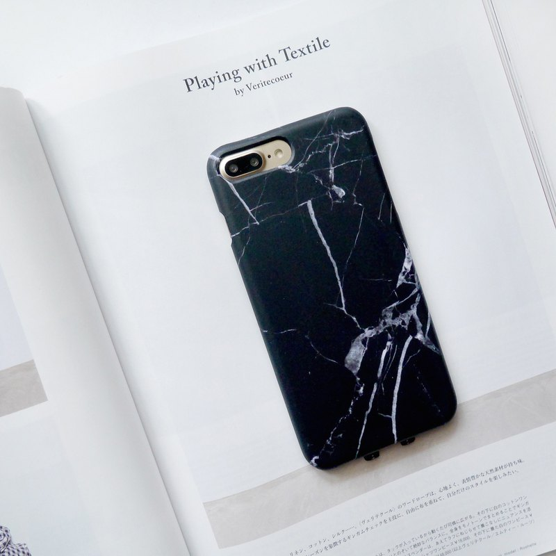 Dark black marble mobile phone shell