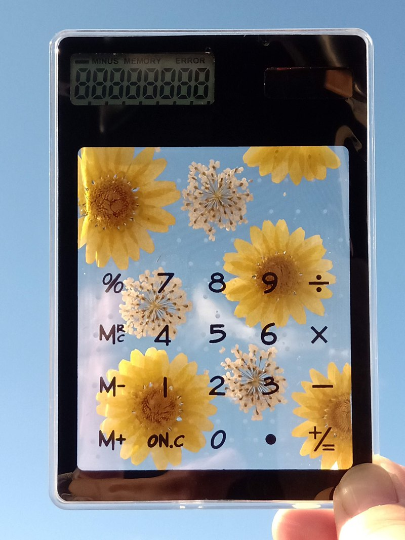Pressed flowers electronic calculator, Handmade electronic calculator,Yellow