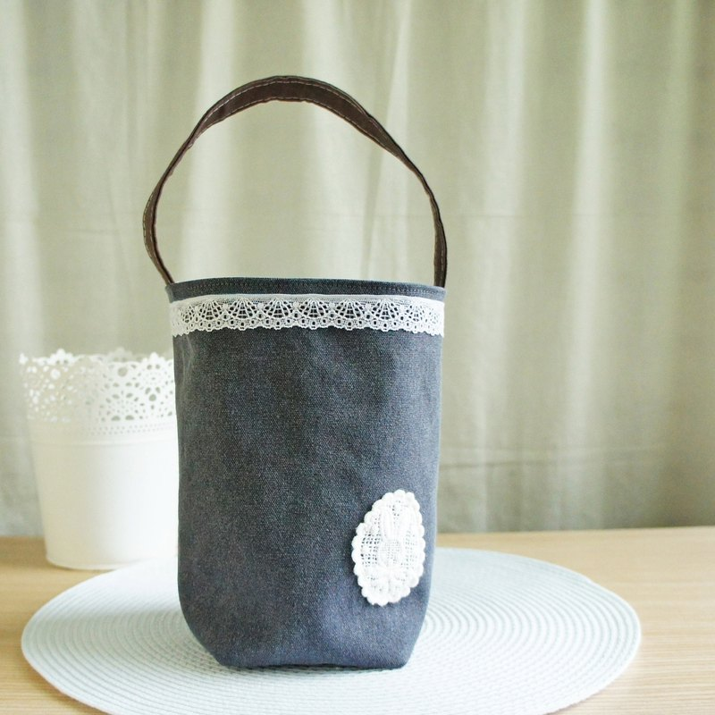 Lovely [stone wash canvas] grocery rabbit bunny flower bottle bag, gray blue