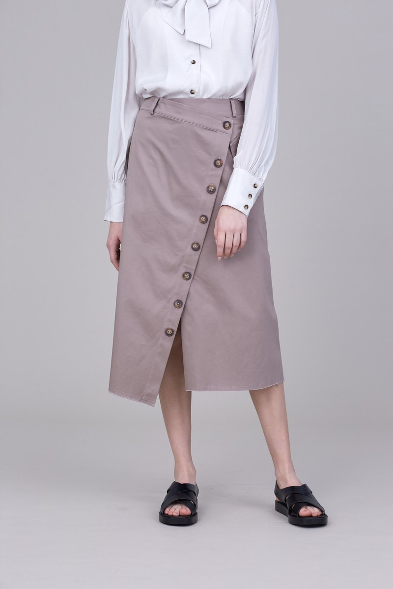 Shan Yong brown wrap-around hem hem skirt