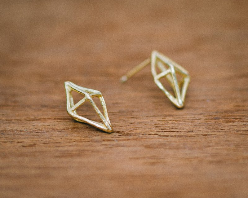 18K geometric - modern - small earrings - gold - gift for her - hypo-allergenic