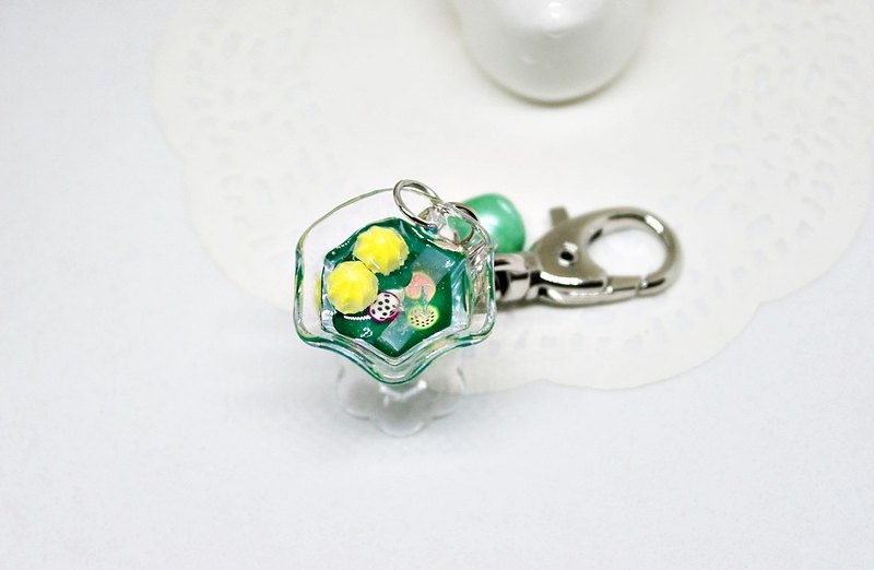 =>Japan UV rubber charm - green wine glass - => limited edition x1 #包配件