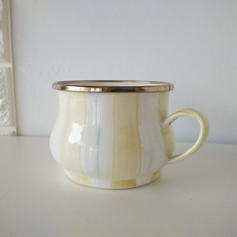 甜瓜黃條紋彩繪琺瑯杯 附手作禮物包裝