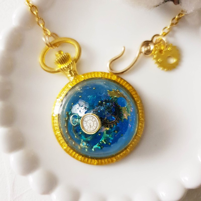 Gear Planet x Blue. x clock gear steam punk x handmade creation k gold necklace