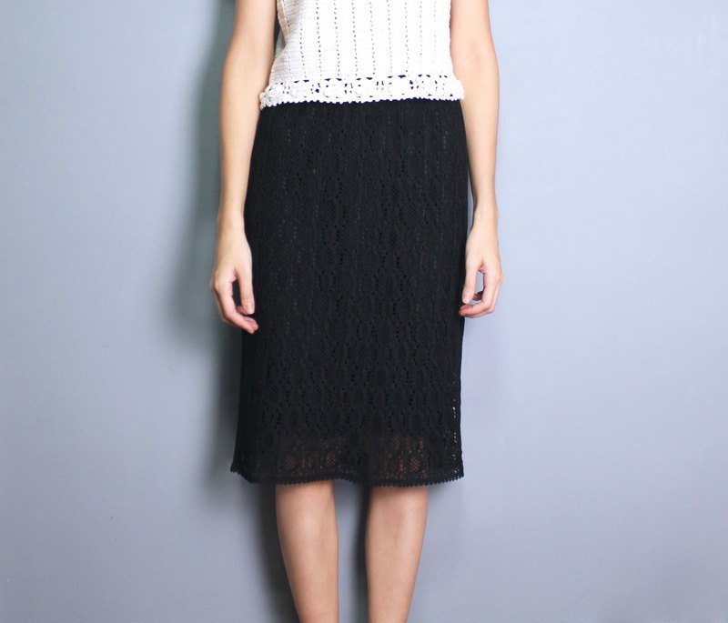 FOAK vintage / black / baroque hollow crochet skirt