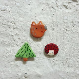 Red Hat Girl + Wolf Good Friends + Little Forest Ceramic Pins (Group)