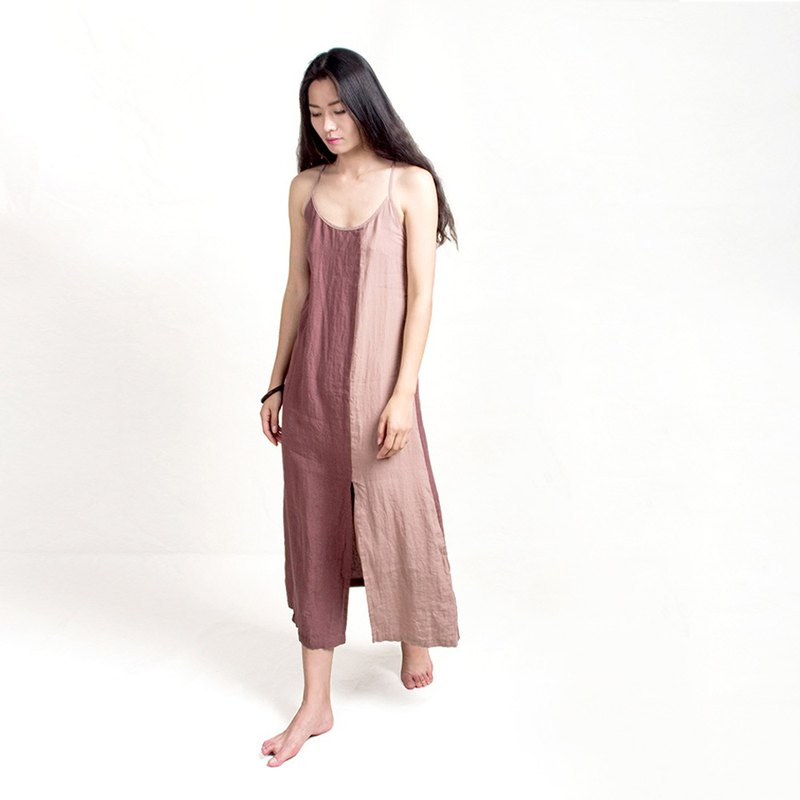 Pure linen washed color matching dress with deep pink coffee slim slimming dress