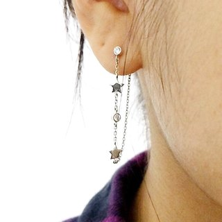 Sterling Silver Tiny Star & Chain Earrings,zircon