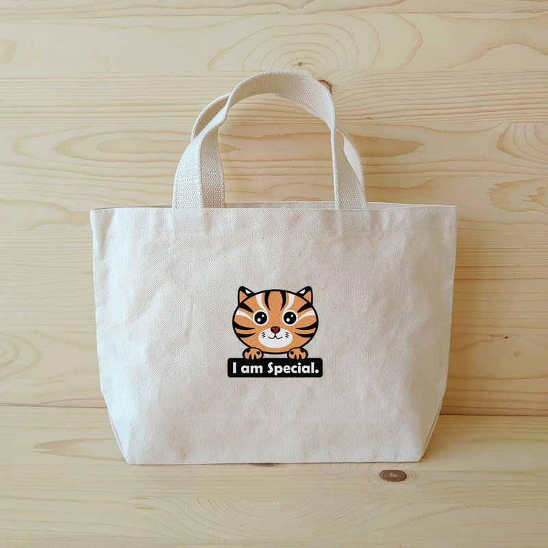 Leopard cat stone tiger wide tote bag / lunch bag