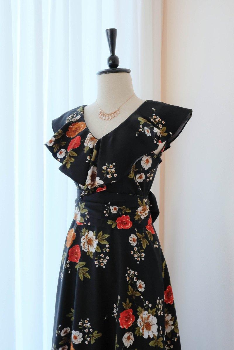 黑色長連衣裙碎花夏季連衣裙伴娘禮服雞尾酒會禮服