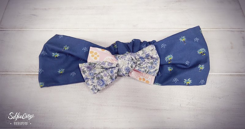 Pink blue floral pink flower coconut tree bow hair band