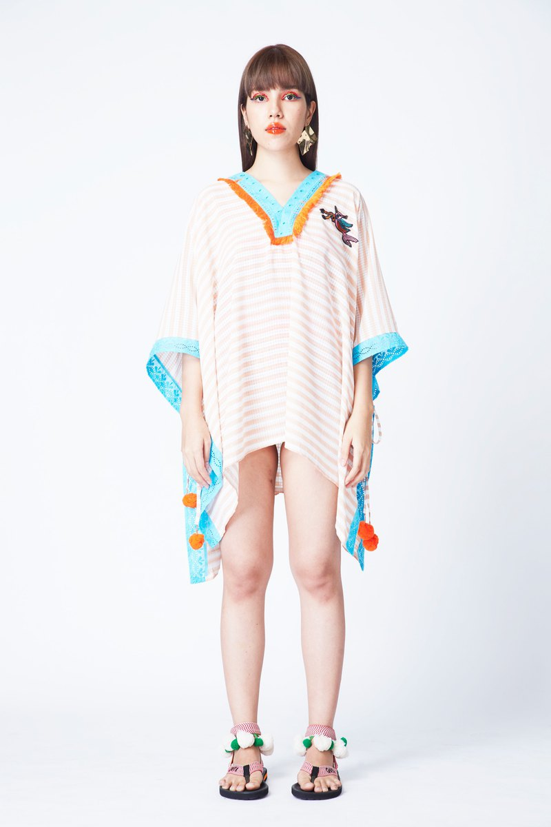 PAPER SHORT KAFTAN IN MONRAK PEACH (PE)