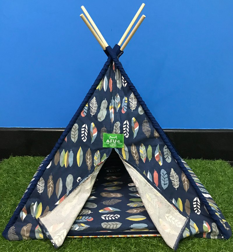 [AFU] Indian camping tent with sleeping mat (blue leaves)