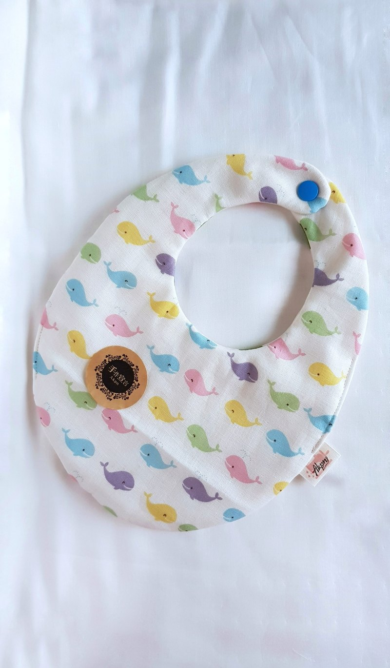 Small Whale - Eight Layers 100% Cotton Double Sided Egg Bib. Saliva Towel