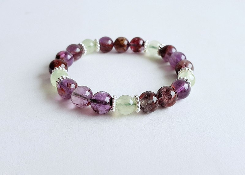 Gemstone Natural Ore Purple Ghost Grape Stone 925 Sterling Silver ‧ Bracelet