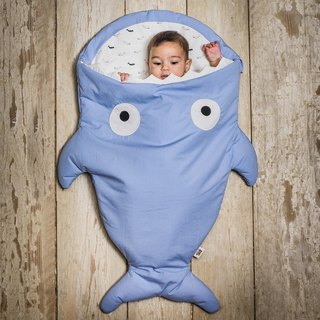 [Spanish] Shark bite a BabyBites cotton baby multi-function sleeping bag - Morning Glory Blue
