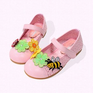 Girl doll shoes with Bee & ladybugs - pink