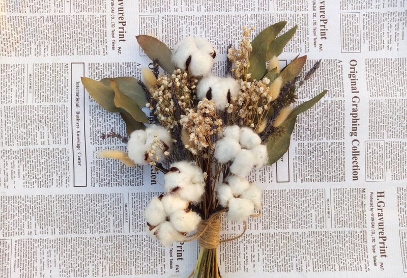 Cotton such as clouds | | dry flowers bouquets outside the clap for wedding