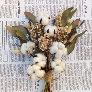 With real flowers | | cotton such as clouds dry flowers bouquets outside the clap for wedding