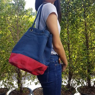 Navy/Red Canvas 2way Bucket Bag w/ Strap Leather Handles.