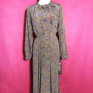 Side buckle flower bow tie long sleeve vintage dress / abroad brought back VINTAGE