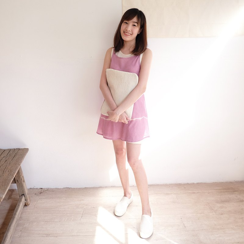 Natural Dyed Thai Saloo Cotton Sleeveless Long Blouse Pink Color