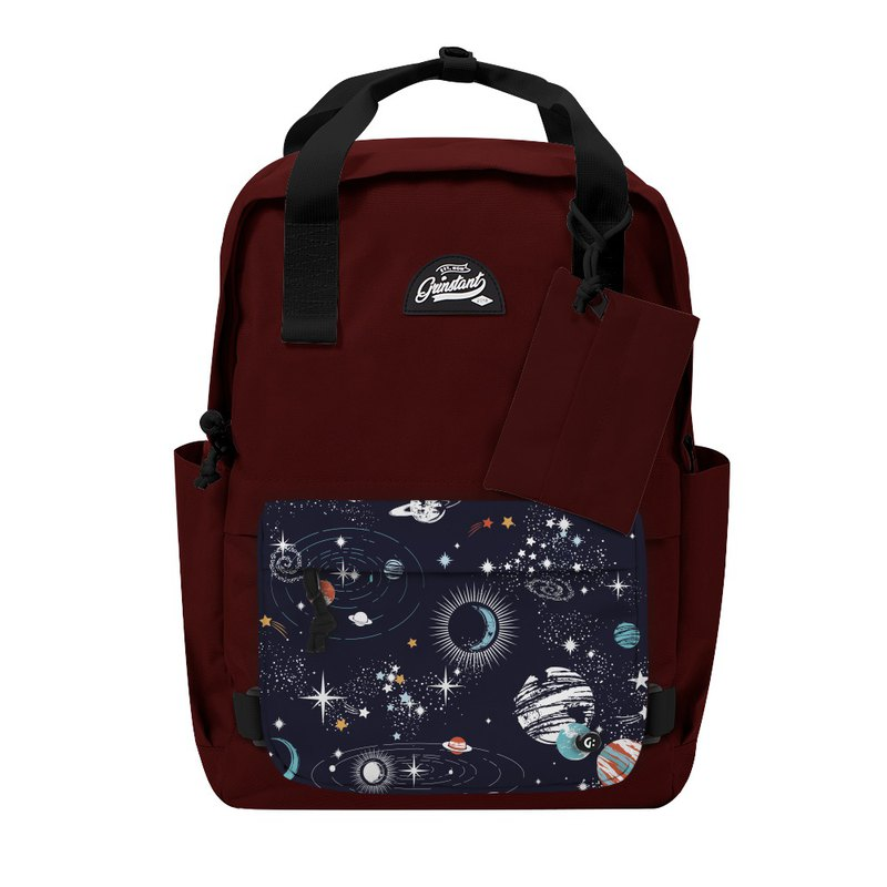 Grinstant mix and match detachable group 15.6 吋 backpack - Adventure series (dark red with planet)